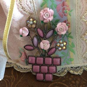 Vintage Pink/Purple Flower Pot Brooch